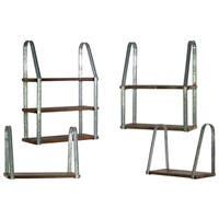 Urban Trends Collection Brown Finish Wood 4-piece Rectangular Wall Shelf with Metal Braces (3 Tier, 2 Tier and 2 x 1 Tier)