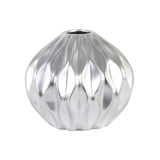 Urban Trends Collection Silver Ceramic Round Low Vase