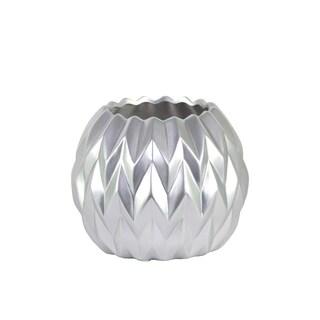 Urban Trends Collection Silvertone Ceramic Round Wave Design Vase