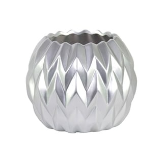 Urban Trends Collection Matte Silver Finished Ceramic Round Low Vase with Uneven Lip and Embossed Wave Design