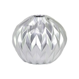 Matte-finish Silvertone Ceramic Round Lip Embossed Wave Design Round Low Vase
