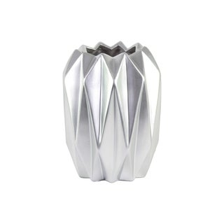 UTC21445: Ceramic Round Tall Vase with Uneven Lip and Ribbed Body Design Matte Finish Silver
