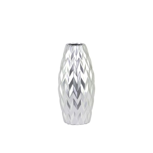 UTC21444: Ceramic Rounded Bellied Vase with Round Lip and Embossed Wave Design SM Matte Finish Silver