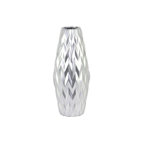 UTC21443: Ceramic Rounded Bellied Vase with Round Lip and Embossed Wave Design LG Matte Finish Silver