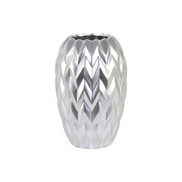 UTC21441: Ceramic Round Vase with Round Lip, Embossed Wave Design and Rounded Bottom LG Matte Finish Silver