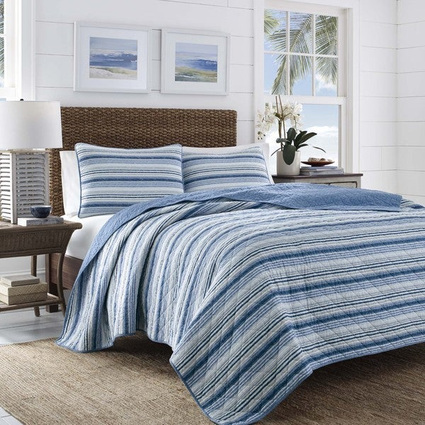 Tommy Bahama Boat Stripe 3 Piece Quilt Set