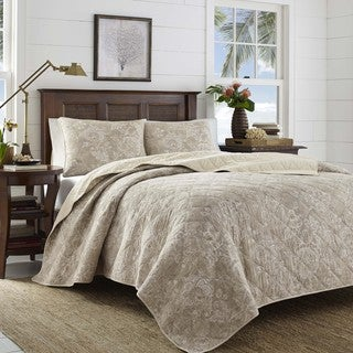 Tommy Bahama Tidewater Jacobean Raffi Cotton 3 Piece Quilt Set