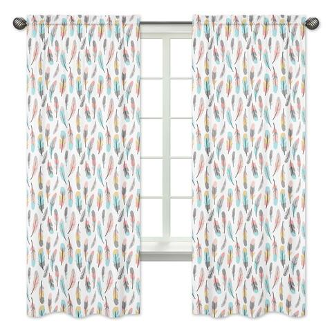 Sweet Jojo Designs Feather Collection Turquoise and Coral Microfiber 84-inch Curtain Panel (Pair)