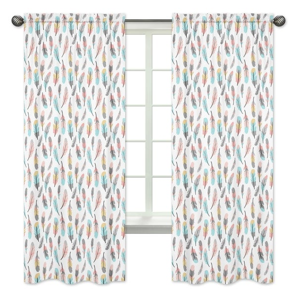 collection turquoise and coral microfiber 84 inch curtain panel pair