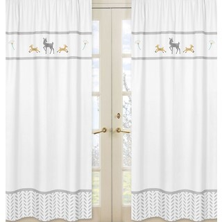 Sweet Jojo Designs Forest Deer Collection Grey, Gold and White Cotton 84-inch Window Treatment Curtain Panel Pair - 42 x 84