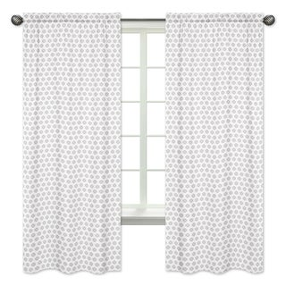 Sweet Jojo Designs Grey Tribal Print 84-inch Window Treatment Curtain Panel Pair for Feather Collection