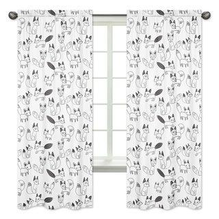 Sweet Jojo Designs Black and White Fox Print 84-inch Window Treatment Curtain Panel Pair