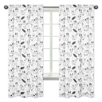 Sweet Jojo Designs Black and White Fox Print 84-inch Window Treatment Curtain Panel Pair