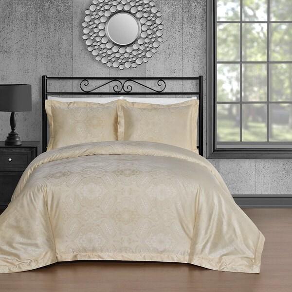 Comfy Bedding Beige Cotton Blend 450 Thread Count 3-piece Duvet Cover Set