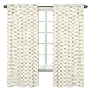 Sweet Jojo Designs Gold Polka Dot 84-inch Window Treatment Curtain Panel Pair for Amelia Collection