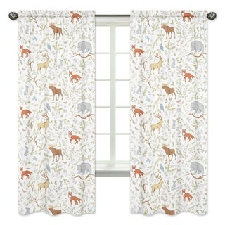 Sweet Jojo Designs Woodland Toile Cotton 84-inch Window Treatment Curtain Panel Pair