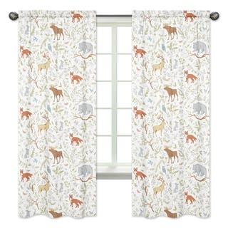 Sweet Jojo Designs Woodland Toile Cotton 84 Inch Window Treatment Curtain Panel Pair