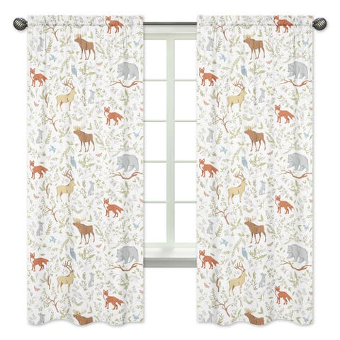 Sweet Jojo Designs Woodland Toile Cotton 84-inch Window Treatment Curtain Panel Pair