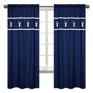 sweet jojo designs woodsy collection navy bluewhite deer 84 inch window curtain panel - Blue And White Window Curtains