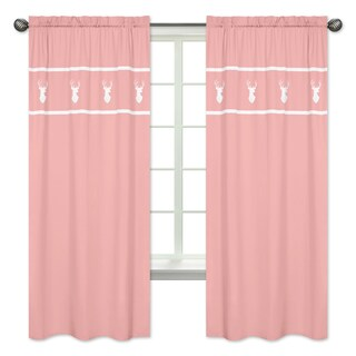 Sweet Jojo Designs Coral and White Deer 84-inch Window Treatment Curtain Panel Pair for Coral and Mint Woodsy Collection