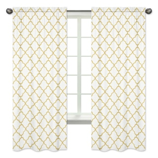 Sweet Jojo Designs White and Gold Trellis Collection Metallic Gold Trellis 84-inch Window Treatment Curtain Panel Pair