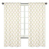 Sweet Jojo Designs White and Gold Trellis Collection Metallic Gold Trellis 84-inch Window Treatment Curtain Panel Pair - 84 x 52