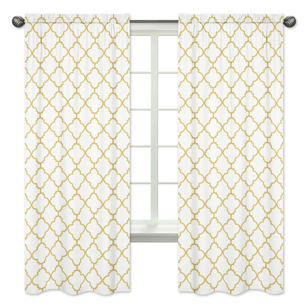 Sweet Jojo Designs White And Gold Trellis Collection Metallic 84 Inch Window Treatment