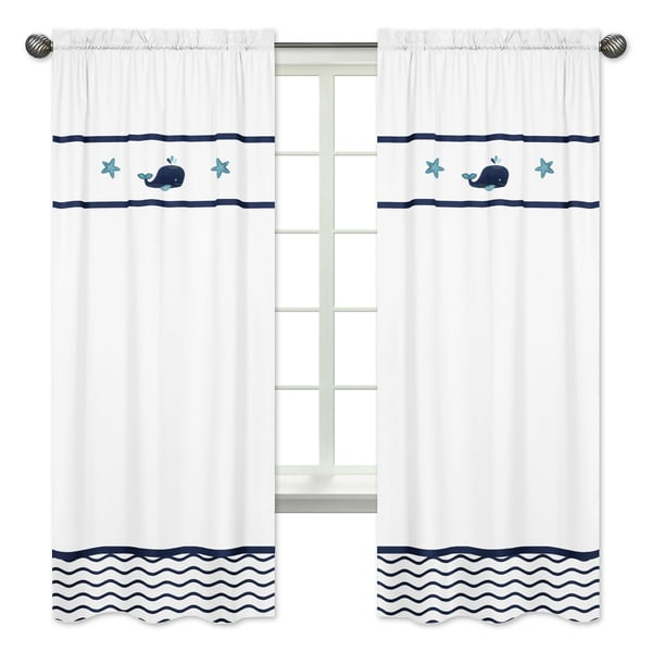 Sweet Jojo Designs Blue Whale Cotton 84 Inch Window Treatment Curtain Panel Pair