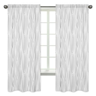 Sweet Jojo Designs Grey and White Woodland Deer Collection Wood Grain Print 84-inch Window Treatment Curtain Panel Pair
