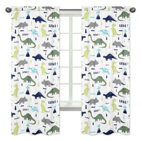 Sweet Jojo Designs Mod Dinosaur Collection Blue/Green Microfiber 84-inch Curtain Panel Pair