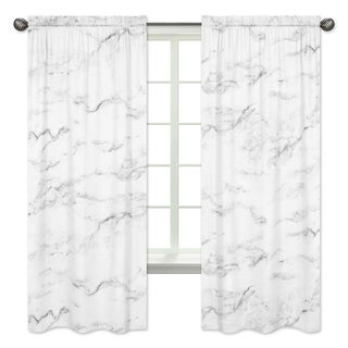 Sweet Jojo Designs Black and White Marble Collection 84-inch Window Treatment Curtain Panel Pair