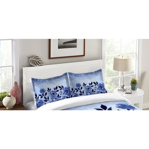Laural Home Blue Ombre Floral Standard Pillow Sham