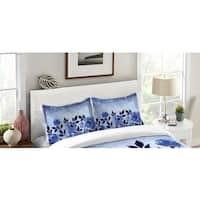Laural Home Blue Ombre Floral Standard Pillow Sham