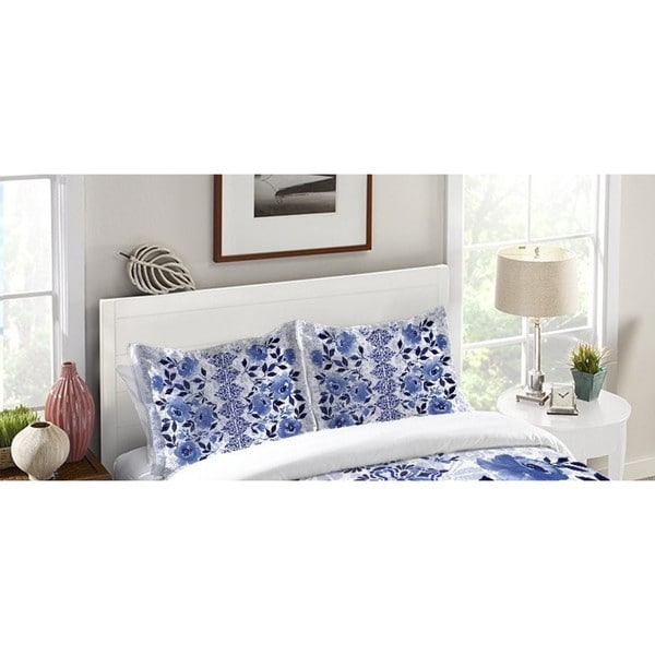 Laural Home Moonlight Blue Flowers Pillow Sham