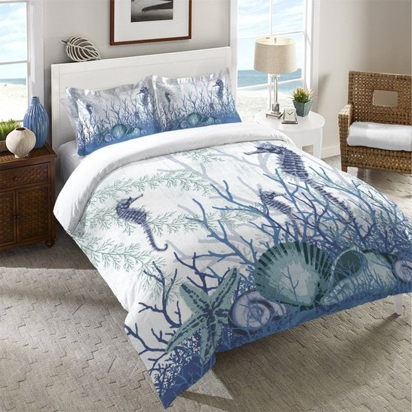Laural Home Aqua Sea Life Duvet Cover - Blue/White