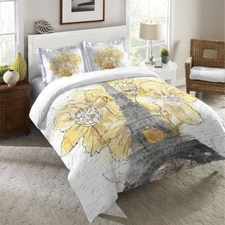 Laural Home Blooming Daffodils in Paris Duvet Cover