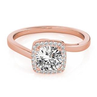 Transcendent Brilliance 14k Rose Gold 1/2 TDW White Diamond Square Halo Engagement Ring