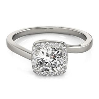 Transcendent Brilliance 14k White Gold 1ct TDW White Diamond Square Halo Engagement Ring