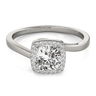 Transcendent Brilliance 14k White Gold 1 1/10ct TDW White Diamond Square Halo Engagement Ring