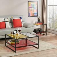 Furniture of America Delrana Contemporary Glass Panel Multi-Color Coffee Table