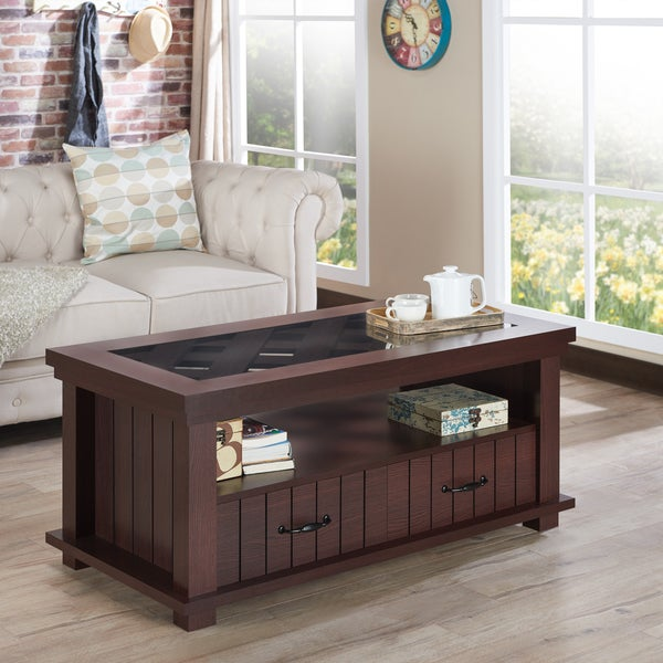 Furniture Of America Cresci Rustic Glass Top 2 Drawer Espresso Coffee Table