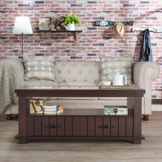 Furniture of America Cresci Rustic Glass Top 2-drawer Espresso Coffee Table