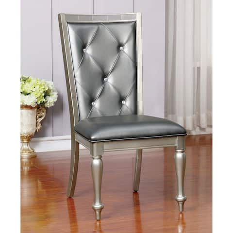 Furniture of America Tase Contemporary Silver Side Chairs (Set of 2)