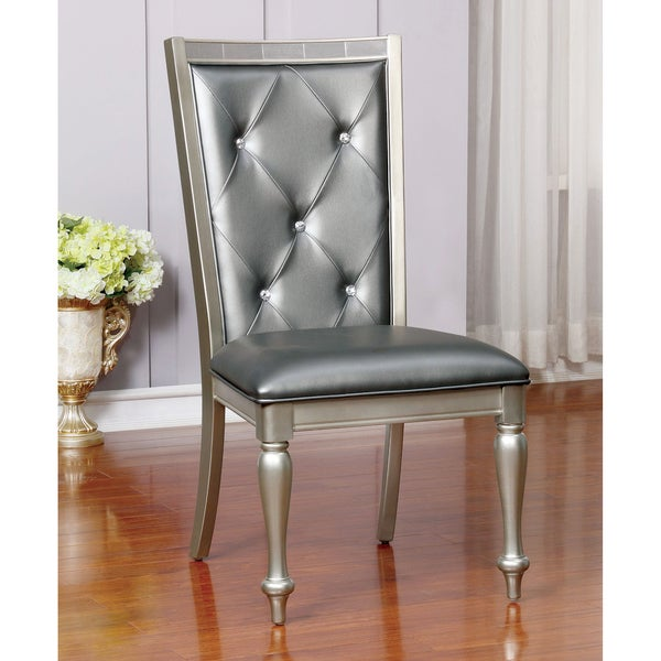 Furniture Of America Glendel Glam Crystal Tufted Leatherette Silver Grey  Dining Chair (Set Of 2