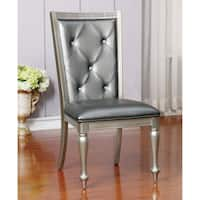 Furniture of America Glendel Glam Crystal Tufted Leatherette Silver Grey Dining Chair (Set of 2)