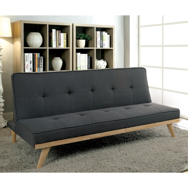 Furniture Of America Talena Mid Century Modern Tufted Linen Like Fabric Futon Sofa