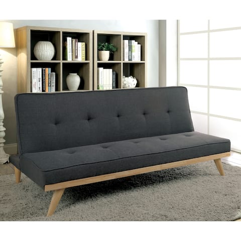 Furniture of America Talena Mid-century Modern Tufted Linen-like Fabric Futon Sofa