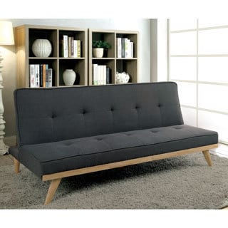 furniture of america talena midcentury modern tufted linenlike fabric futon sofa - Futon Sofa Beds
