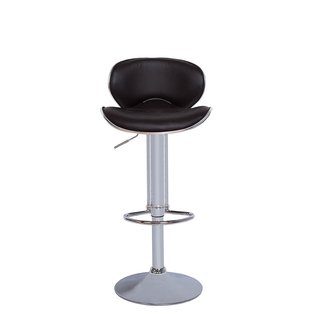 Vogue Furniture Black Vinyl/Chrome Adjustable Height Bar Stool