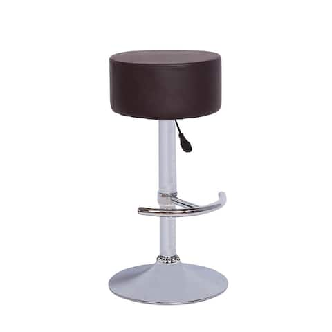 Vogue Furniture Direct Backless Brown Leather Adjustable Stool with Footrest